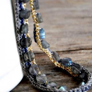 Unique Crocheted Chains Labradorite..