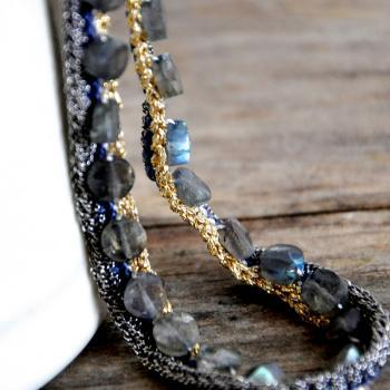 Unique Crocheted Chains Labradorite Necklace