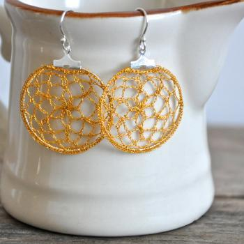 Small Delicate Crochet Lace Earrings in Yellow Gold