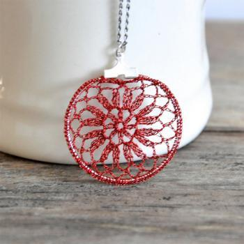 Small Delicate Crochet Lace Pendant in Red